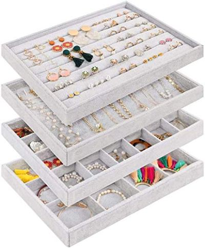 Mebbay Stackable Velvet Jewelry Trays Organizer