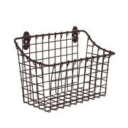 Vintage Large Cabinet & Wall-Mounted Basket for Storage