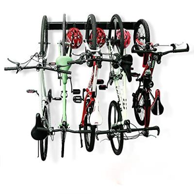 Bike Rack Garage Storage 5 Bicycles Hooks Wall Mount