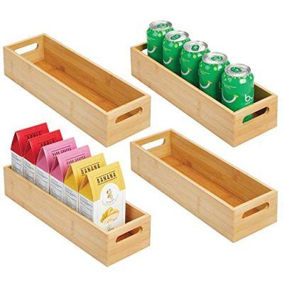 Slim Bamboo Kitchen Cabinet & Fridge Drawer Organizer Tray