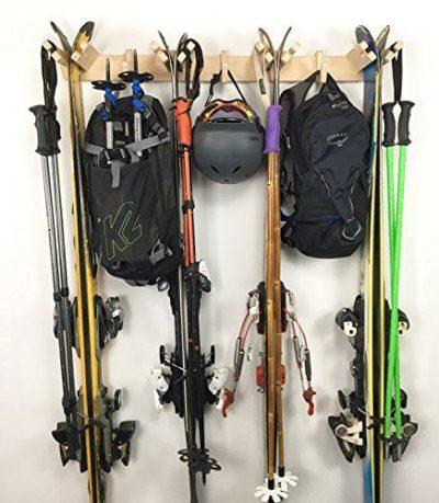 Vertical Ski Storage Rack Holds 4 Sets of Skis