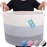 Blanket Storage Basket with Long Handles Extra Large Baskets