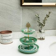 HAWOO Ceramic Vanity Tray,Ring Dish 3-Tirer Jewelry Dish