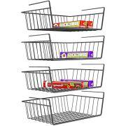Under Shelf Basket, iSPECLE 4 Pack Wire Rack, Slides Under Shelves For Storage