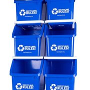 Blue Stackable Recycling Bin Container with Handle
