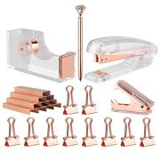 KIDMEN Rosegold Desk Accessory Kit,Set of Stapler