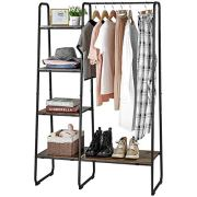 Clothing Rack with 5 Wood Shelves and Hanging Bar