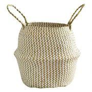 BXzhiri Seagrass Wicker Basket Flower Pot Folding Basket