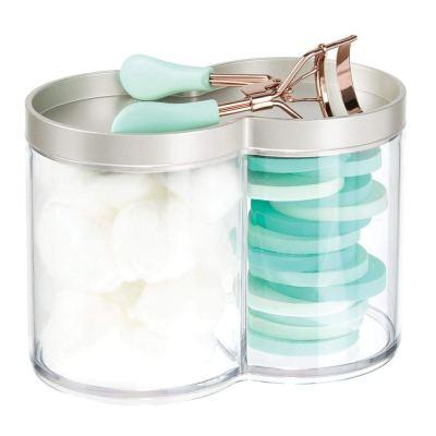 mDesign Plastic Bathroom Vanity Countertop Canister Jar