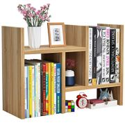 Office Desktop Bookshelf Adjustable Wood Display