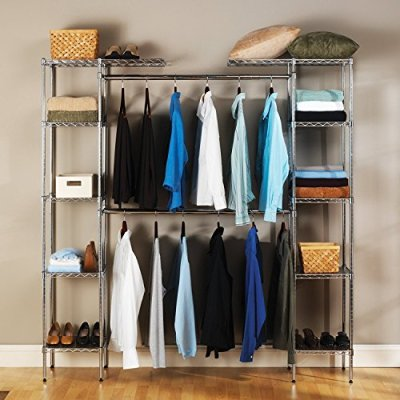 Seville Classics Double-Rod Expandable Clothes Rack