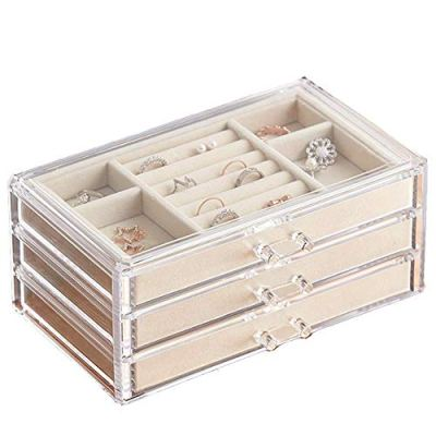 HerFav Jewelry Box for Women with 3 Drawers