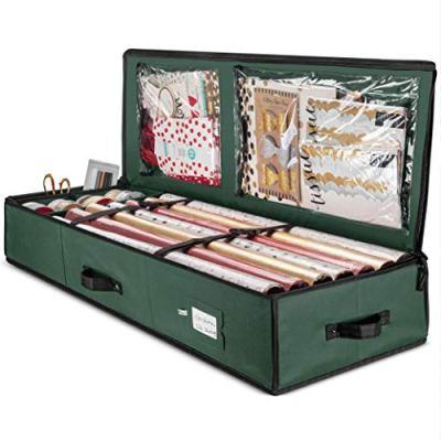 Premium Christmas Gift Wrap Organizer, Interior Pockets