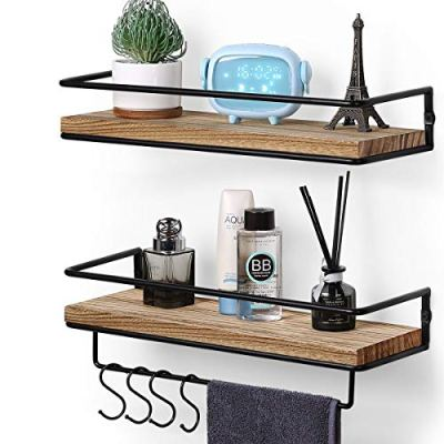 Wall Mounted Set of 2, Rustic Wood Wall Storage Shelves