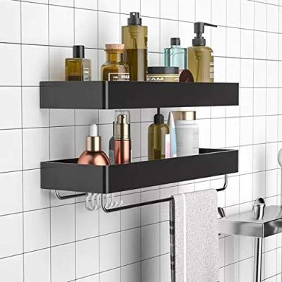 Z metnal Shower Caddy Basket Wall Shelf with Towel Bar Hanger Hook