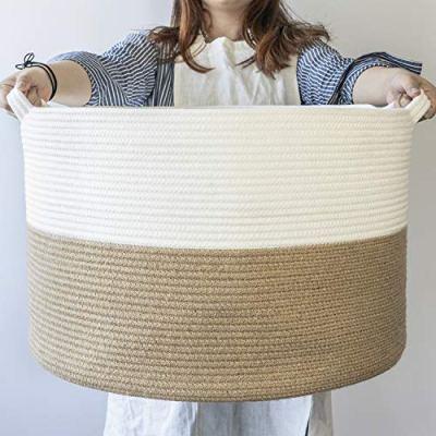 INDRESSME XXXLarge Jute Rope Basket