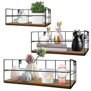 HORLIMER Wall Mounted Floating Shelves Set of 3