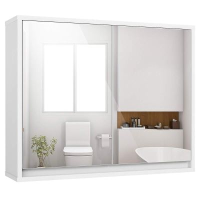 Wall-Mounted Storage Cabinet with Double Mirror Doors
