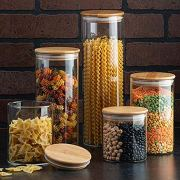 Canister Set of 5, Glass Kitchen Canisters with Airtight Bamboo Lid