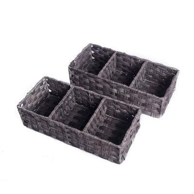 HOSROOME Toilet Paper Basket Larger Compartments Storage Basket
