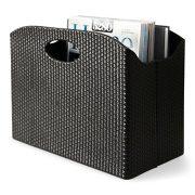 Blu Monaco - Quality Leather Magazine Holder - Basket with Handles