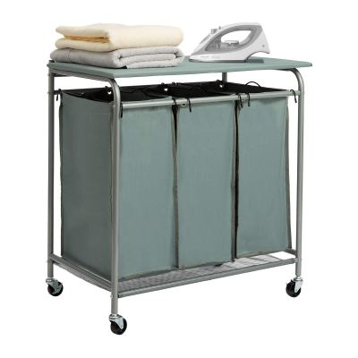 Sorter Cart with Foldable Ironing Board with Removable