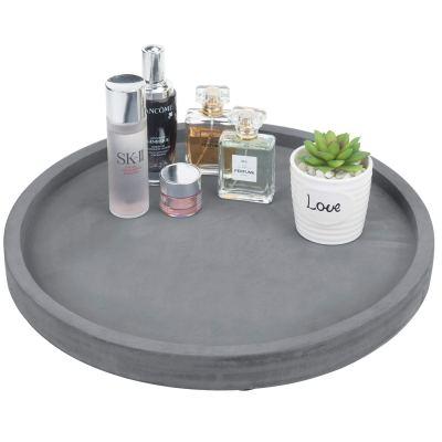 Gray Round Concrete Bathroom Vanity Tray