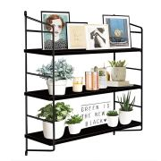 BOLUO Black Wall Shelf Bathroom Floating Shelves Mounted