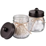 Amolliar Mason Jar Bathroom Vanity Organizer - Rustic Farmhouse Decor