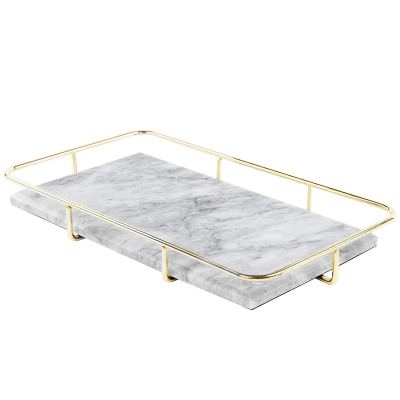 Marble Vanity Organizer Tray with Polished Gold