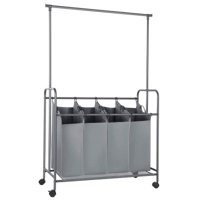 Rolling Laundry Cart with Hanging Bar