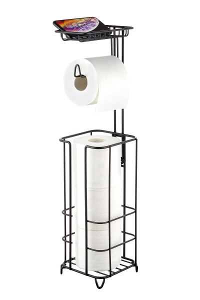 zccz Toilet Paper Holder Stand with Reserve, Free Standing Toilet Roll