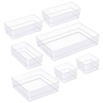 7 Pcs Clear Desk Drawer Organizers Trays, 4-Size Versatile Plastic Storage