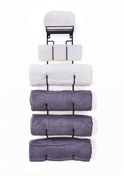 Wall Mount Metal Wine/Towel Rack with Top Shelf
