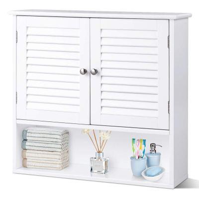 Wooden Hanging Medicine Cabinet with Double Shutter Doors