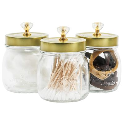 Glass Vanity Canisters with Gold Lids, Mason Jar Bathroom Set