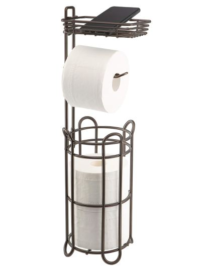 Toilet Paper Roll Holder Stand with Storage Shelf
