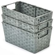 EZOWare Pack of 3 Paper Rope Woven Storage Baskets