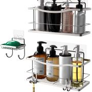 Shower Caddy Basket Shelf with Hooks/Soap Dish Holder Shelf