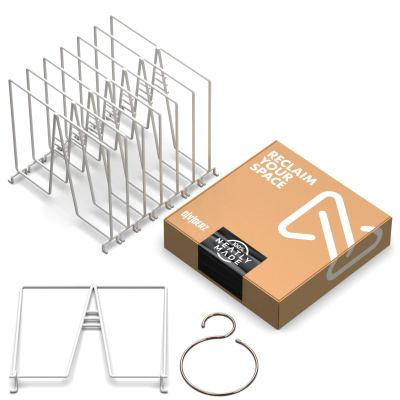 Neatly Made White Wire Shelf Dividers for Closet Organization