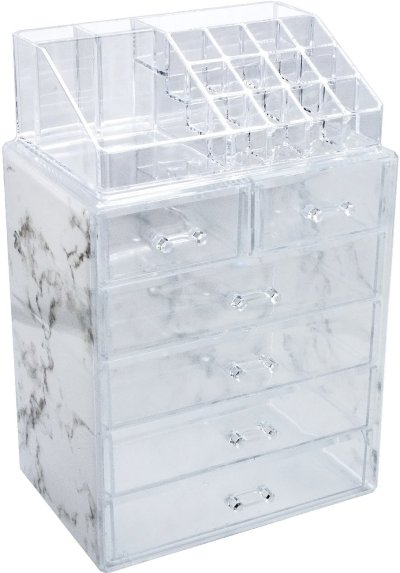 Marble Cosmetic Makeup and Jewelry Storage Case Display