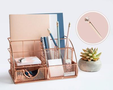 Rose Gold Desk Organizer and Storage for Your Accessories