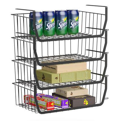 Stackable Under Shelf Basket, GSlife 4 Pack Stackable Wire Storage Basket