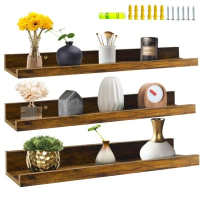 Giftgarden 24 Inch Floating Shelves Wall Mounted Set of 3