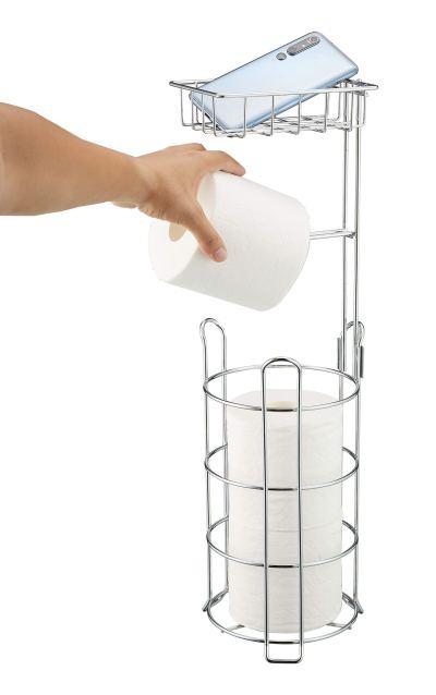 ALHAKIN Toilet Paper Holder, Free Standing Bathroom Tissue Roll Holders