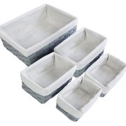 5-Piece Wicker Weave Utility Storage Baskets Bins for Shelves Closets