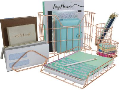Sorbus Desk Organizer Set, Rose Gold 5-Piece