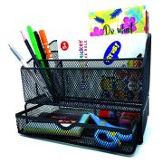 All in one black office desk mesh organizer with 5 compartments