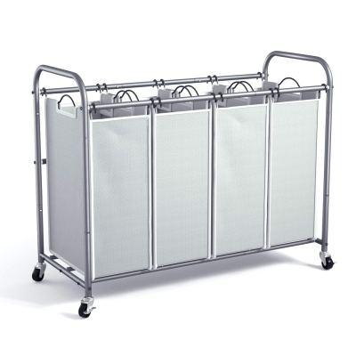 ROMOON 4 Bag Laundry Sorter Cart, Laundry Hamper Sorter