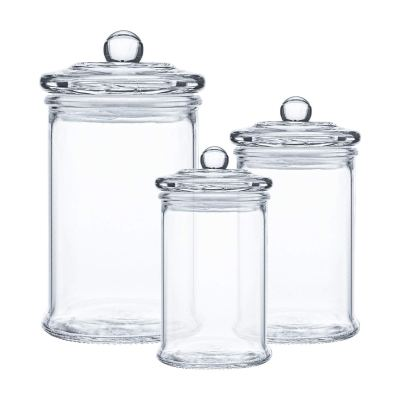 Apothecary Jars with Lids, Clear Canisters Set Bathroom Storage